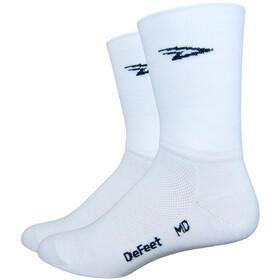 "DeFeet Aireator 5"" Double Cuff Socks, d-logo/white"